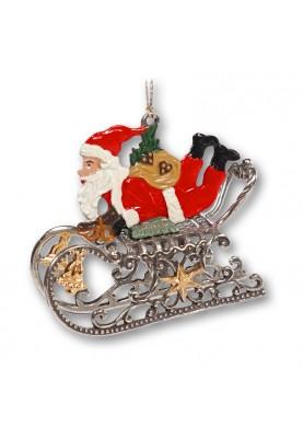 3D Santa Claus lying on Sleigh