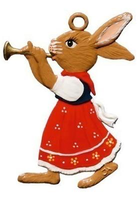 Zinn Hasenmädchen mit Flöte