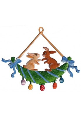 Pewter Bunnies on a Swing