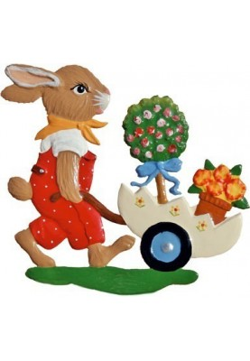 Pewter Bunny with Pushcart