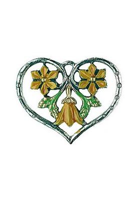 Herz mit drei Blumen gelb