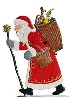 Weihnachtsmann mit Korb zum Stellen