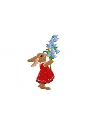 Hasenmädchen mit Glockenblumen
