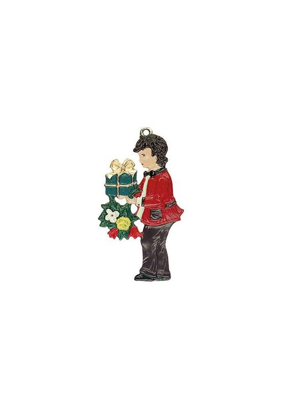 Junge mit Blumenstrauß und Geschenk