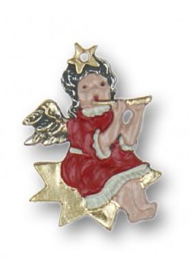Engel mit Querflöte auf einem Stern