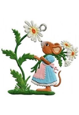 Maus mit Gänseblümchen