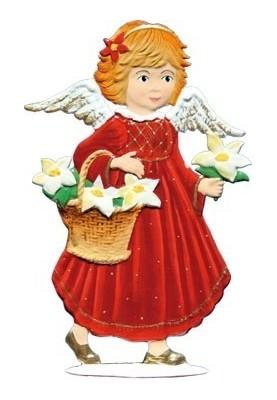 Engel mit Blumenkorb zum Stellen