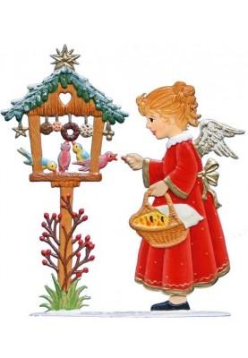 Engel am Vogelhaus zum Stellen