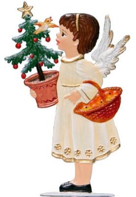 Engel trägt Tannenbaum zum Stellen