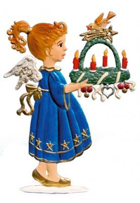 Engel mit Adventskranz zum Stellen