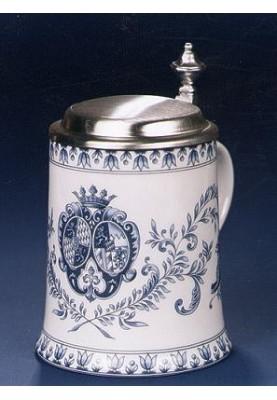 Porzellan Bierkrug 0,5l Wappen blau