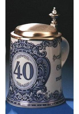 Porzellan Bierkrug 0,5l Geburtstag 40 Jahre