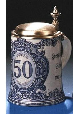 Porzellan Bierkrug 0,5l Geburtstag 50 Jahre