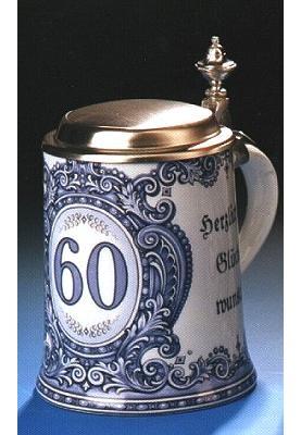 Porzellan Bierkrug 0,5l Geburtstag 60 Jahre