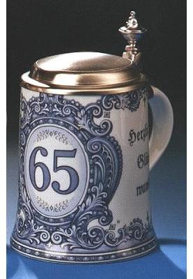 Porzellan Bierkrug 0,5l Geburtstag 65 Jahre