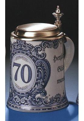 Porzellan Bierkrug 0,5l Geburtstag 70 Jahre
