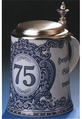 Porzellan Bierkrug 0,5l Geburtstag 75 Jahre