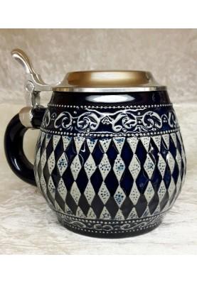 Keramik Bierkrug 0,5l Bayerische Raute blau
