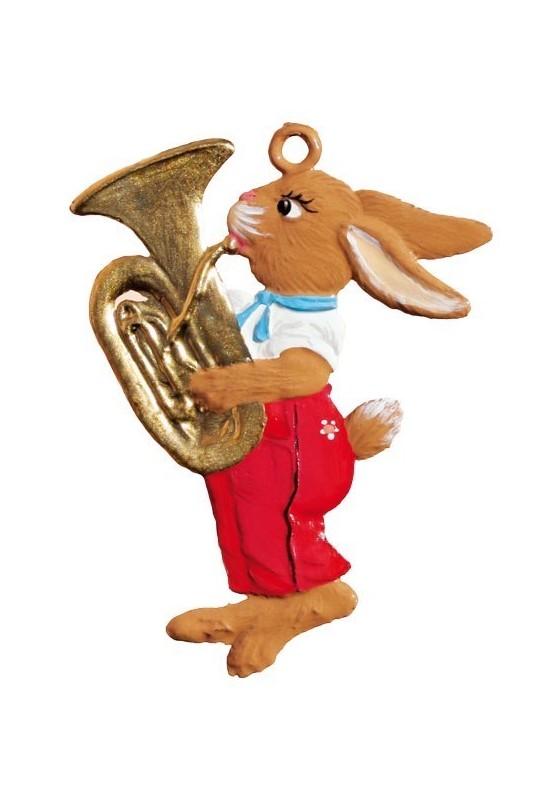 Zinn Hase spielt Tuba