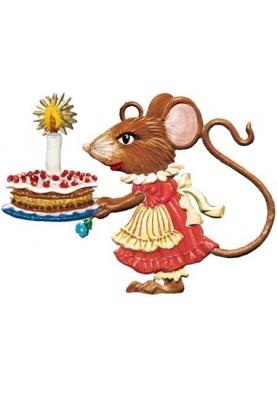 Zinn Mausdame mit Kuchen
