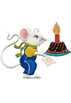 Zinn Mausjunge mit Kuchen