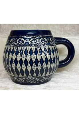 Keramik Bierkrug 0,5l Bayerische Raute blau o.D.