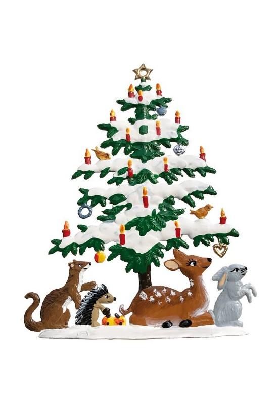 Zinn Christbaum mit Tieren zum Stellen