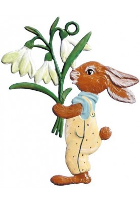 Pewter Bunny with Snowdrop