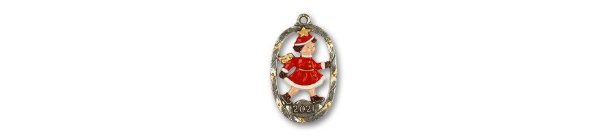 Pewter Kleinschmidt - Christmas Pewter Ornaments, Yearangels, handpainted
