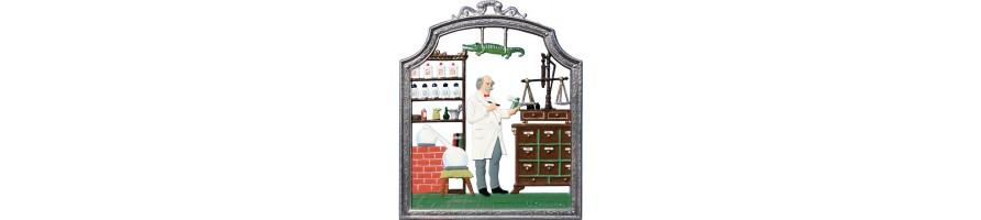 Zinn Kleinschmidt - Apotheke, handbemalte Zinnbilder
