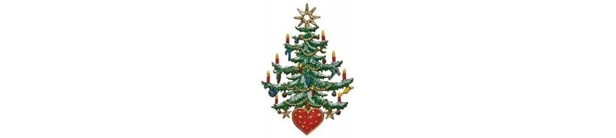 Zinn Kleinschmidt - Zinnanhänger, Weihnachten, Christbäume und Adventskränze, handbemalt