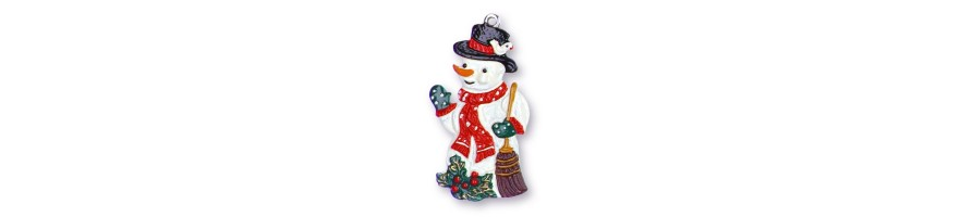 Pewter Kleinschmidt - Christmas Pewter Ornaments, Snowmen, handpainted
