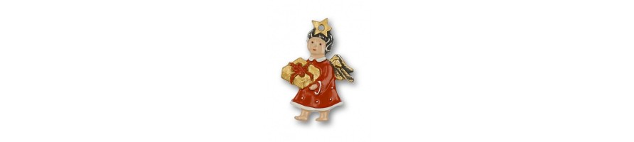 Pewter Kleinschmidt - Christmas Pewter Ornaments, Mini-Angels, handpainted