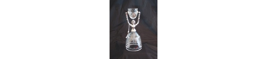 Pewter Kleinschmidt - Bridal Cup, Glass, mouthblown, handcated pewter, made in Bavaria, Germany