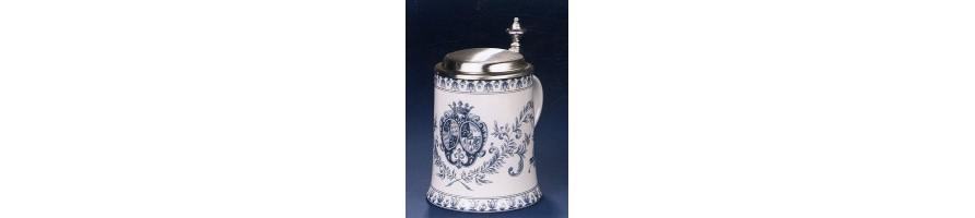 Zinn Kleinschmidt - Bierkrug Porzellan mit Zinn Deckel, aus Deutschland