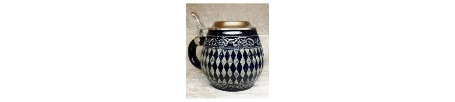 Zinn Kleinschmidt - Bierkrug Keramik mit Zinndeckel