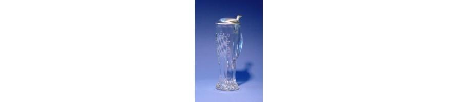 Zinn Kleinschmidt - Bierkrug Glas mit Zinn Deckel