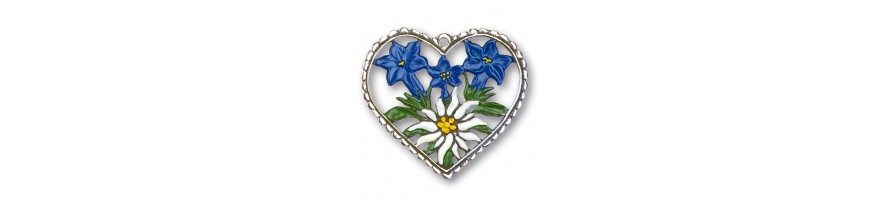 Pewter Kleinschmidt - Pewter Ornament, Hearts, handpainted