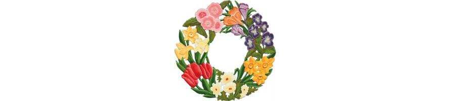 Zinn Kleinschmidt - Zinn Anhänger, Blumen, handbemalt