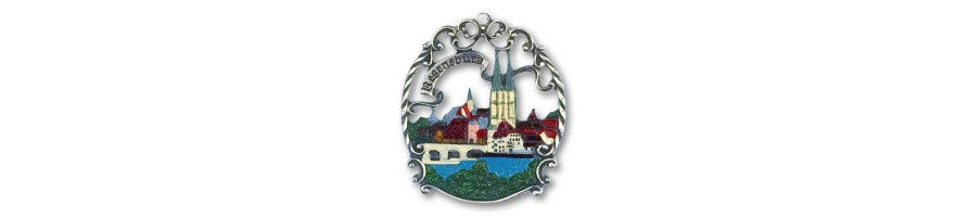 Pewter Kleinschmidt - Pewter Ornaments, Cities, handpainted, made in Germany, Bavaria -